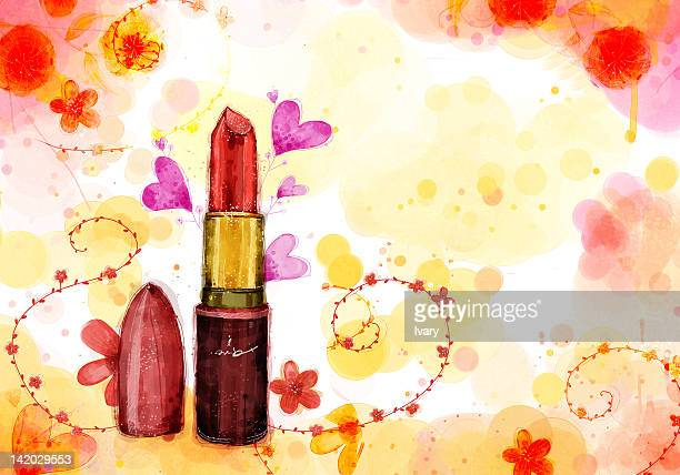 Lipstick On Flora Background