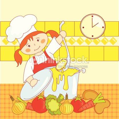 Little girl cook arte vectorial thinkstock for Cocinar imagenes animadas