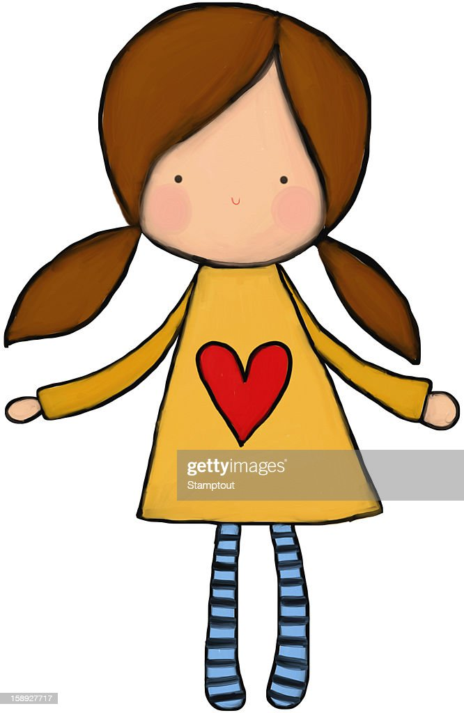 A little girl in pig tails with a heart on her dress : Stock Illustration