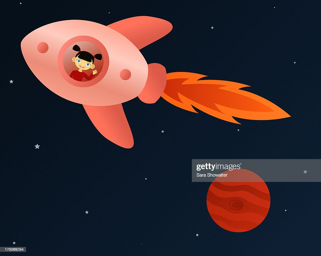 A little girl inside of a rocket ship : Stock Illustration