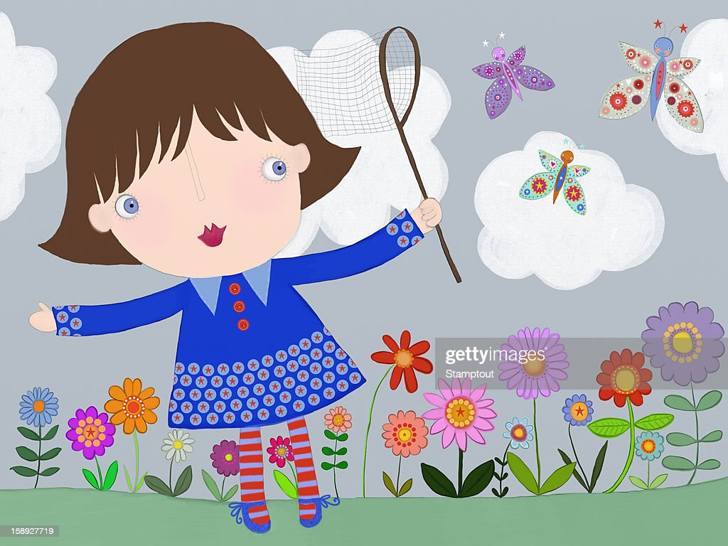 A little girl trying to catch butterflies with a net : Stock Illustration
