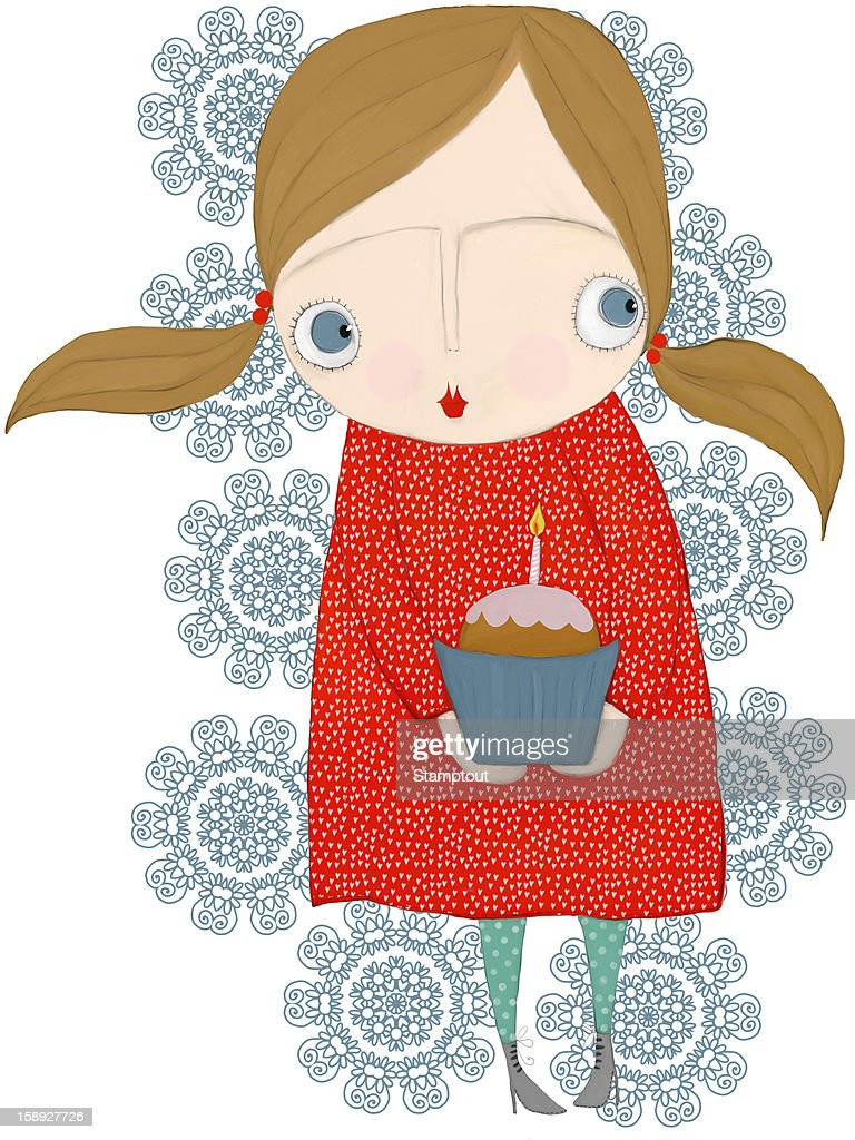 A little girl with pig tails holding a cupcake : Stock Illustration