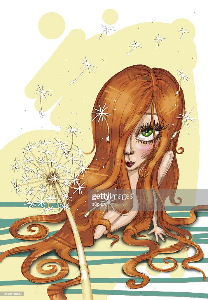 Little pretty girl sitting on the floor : Stock Illustration