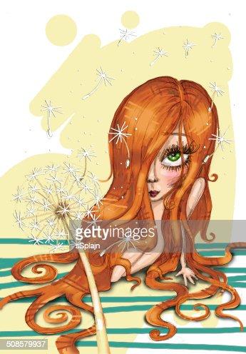 Little pretty girl sitting on the floor : Stock Illustration
