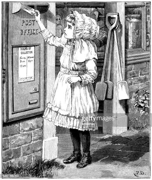 Lilla viktorianska flicka posta ett brev