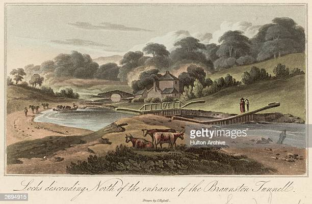 Locks descending north of the entrance to the Braunston Tunnel on the Grand Junction Canal which linked the Oxford Canal in the Northampton area with...