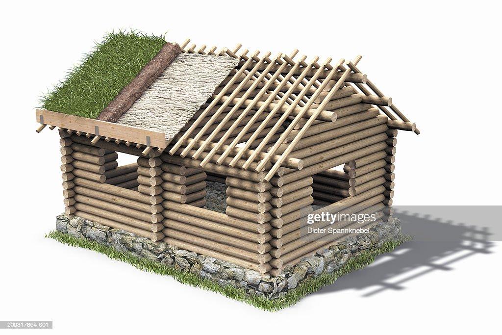Log cabin under construction stock illustration getty images for Log cabin roof construction