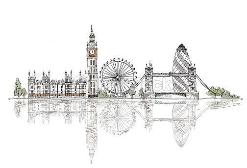 London Big Ben Tower Bridge Sketch Collection Of Fafmous Buildings Stock Illustration