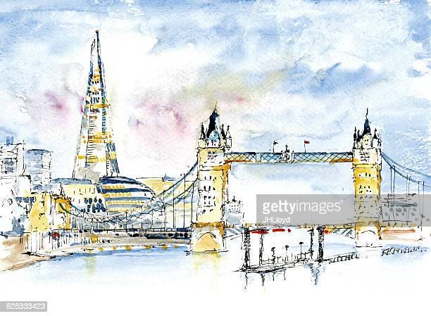London's Shard, London Bridge, Tower Bridge, Tower Hall