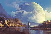 scenery of lonely woman looking at another earth,illustration painting