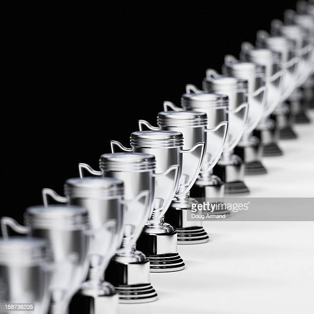 A long line of trophy cups