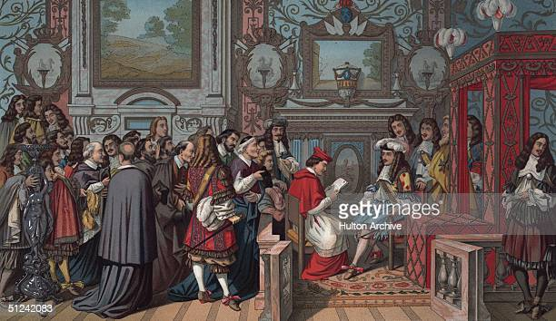 1664 Louis XIV known as 'The Sun King' giving an audience in his bed chamber to the Pope's nephew specially sent to apologise for an insult to the...
