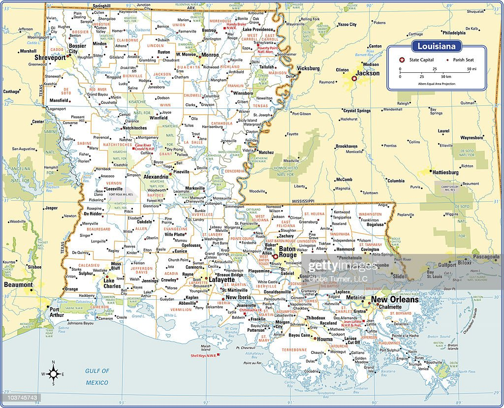 Louisiana State Map Vector Art Getty Images - Louisana state map