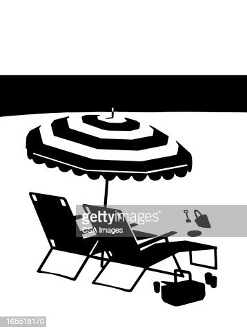 Lounge Chairs and Umbrella on the Beach : Stock Illustration