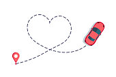 Love car route. Romantic travel, heart dashed line trace and routes. Hearted vehicle path, dotted love valentine day drawing isolated  illustration