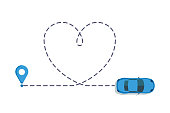 Love car route. Romantic travel, heart dashed line trace and routes. Hearted vehicle path, dotted love valentine day drawing isolated  illustration.