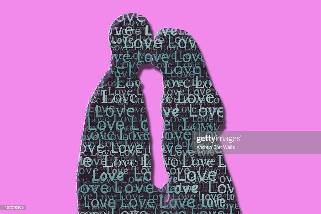 Love text outline of a man and woman kissing : Stock Illustration
