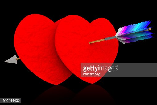 Amore San Valentino Cuore Trafitto Da Freccia Stock Illustration