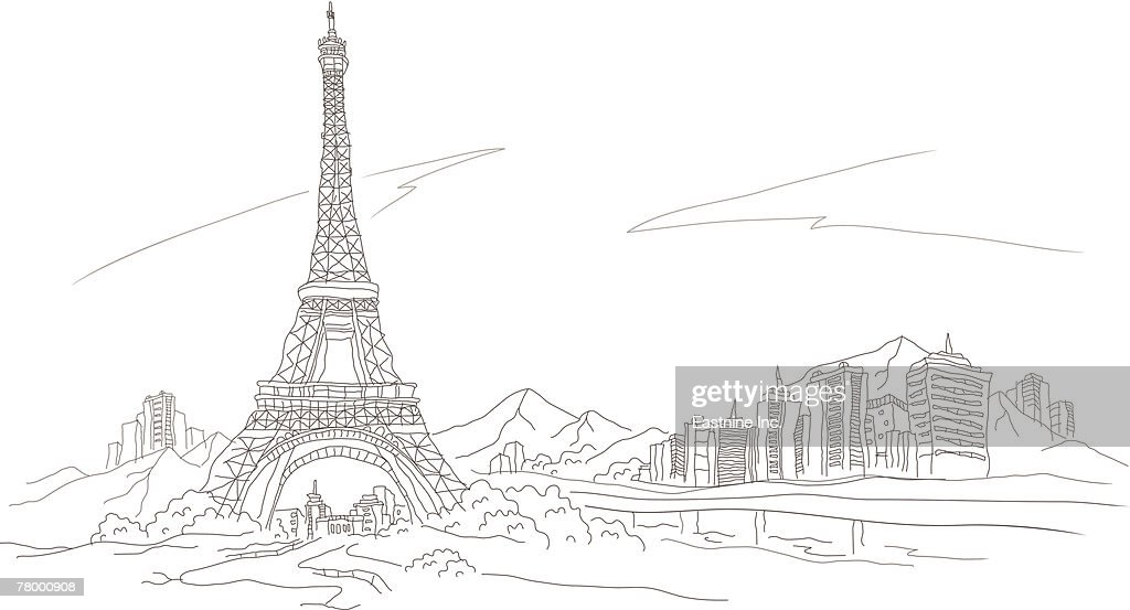 Low angle view of a tower, Eiffel Tower, Paris, France : Vector Art