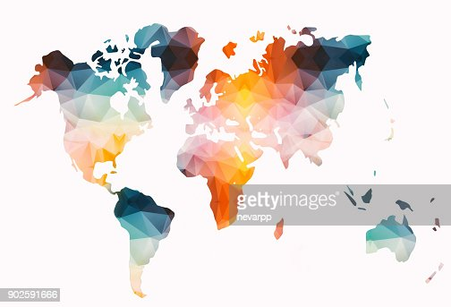 Low poly colorful world map : stock illustration