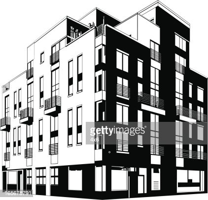 Brick Apartment Building Illustration. Lowangle View Of An Apartment Building Vector Art Getty Images apartment building tall house vector illustration  christopher