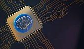 machine learning Brain symbol on circuit board 3d Rendering