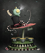 Conceptual illustration or poster with  magic carousel for  tea party, Wonderland. Computer graphics.