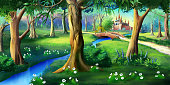 Digital painting of the magic forest near the fairytale castle. Idyllic fairy tale illustration
