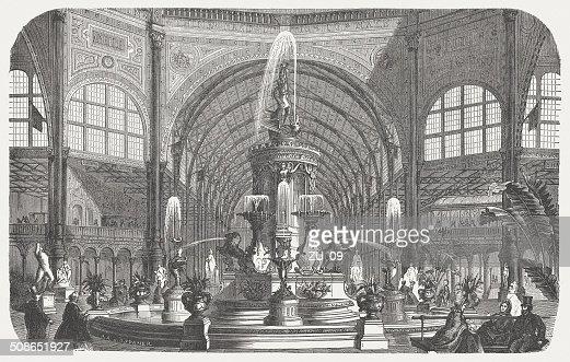 Majolica fountain, Crystal Palace, World exhibition, London, 1862, published 1877 : Stock Illustration