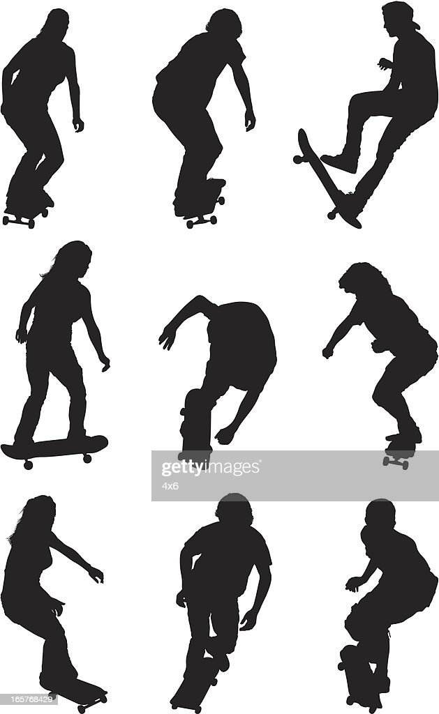 Male And Female Silhouettes On Skateboards Skateboarding ...