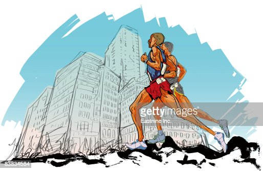 Male athletes running, side view : Stock Illustration