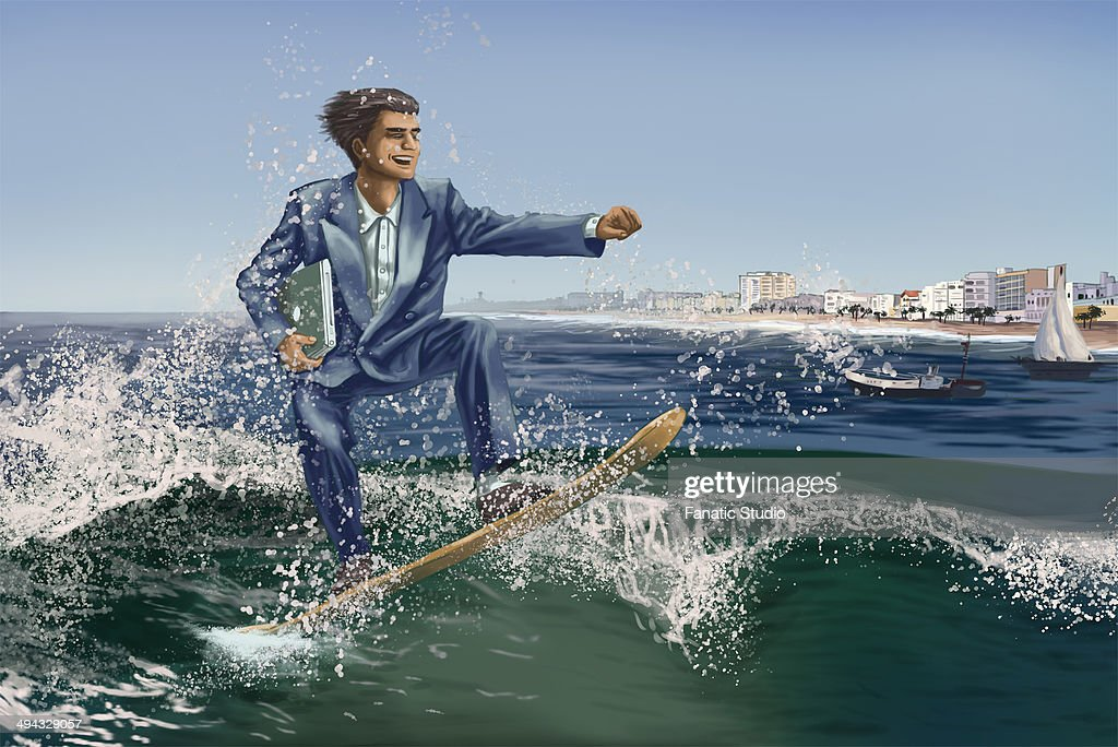 Male executive on surfboard with laptop riding the waves on business trip : Stock Illustration