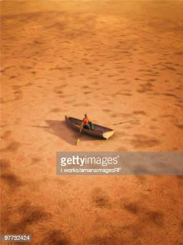 Male figurine in a boat on a dry land : Stock-Illustration