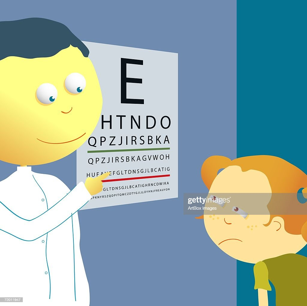 Male optician checking a girl's eye sight with an eye chart : Stock Illustration