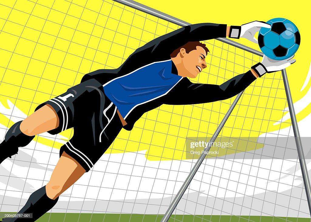 Male soccer goalie diving for ball : Stock Illustration