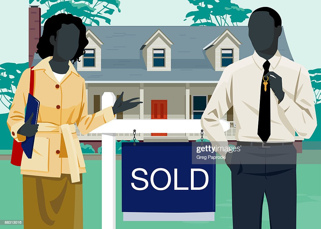 Man and woman beside 'sold' sign in front of house : Stock-Illustration