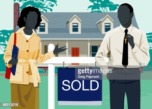 Man and woman beside 'sold' sign in front of house : Stockillustraties