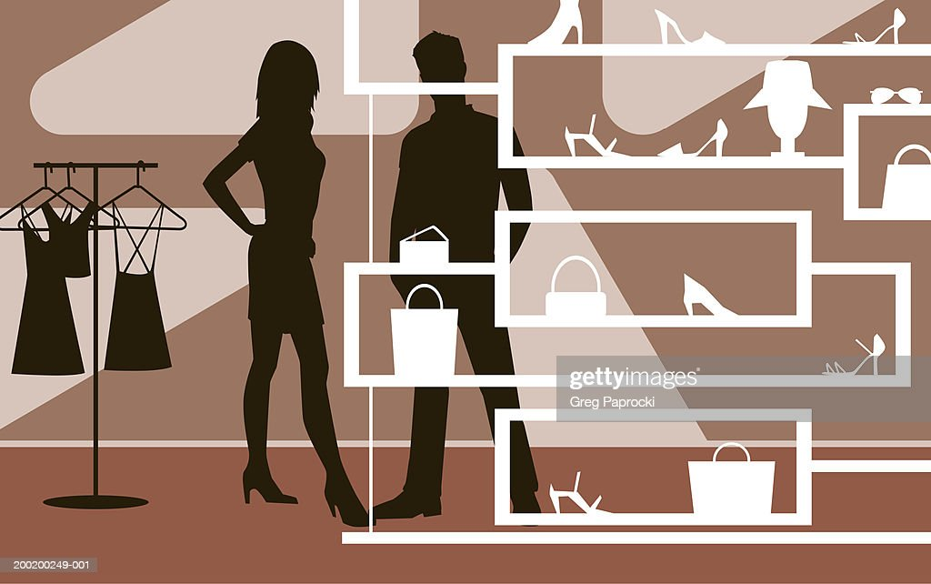 Man and woman looking at shoes and purses in retail store, silhouette : Stock Illustration