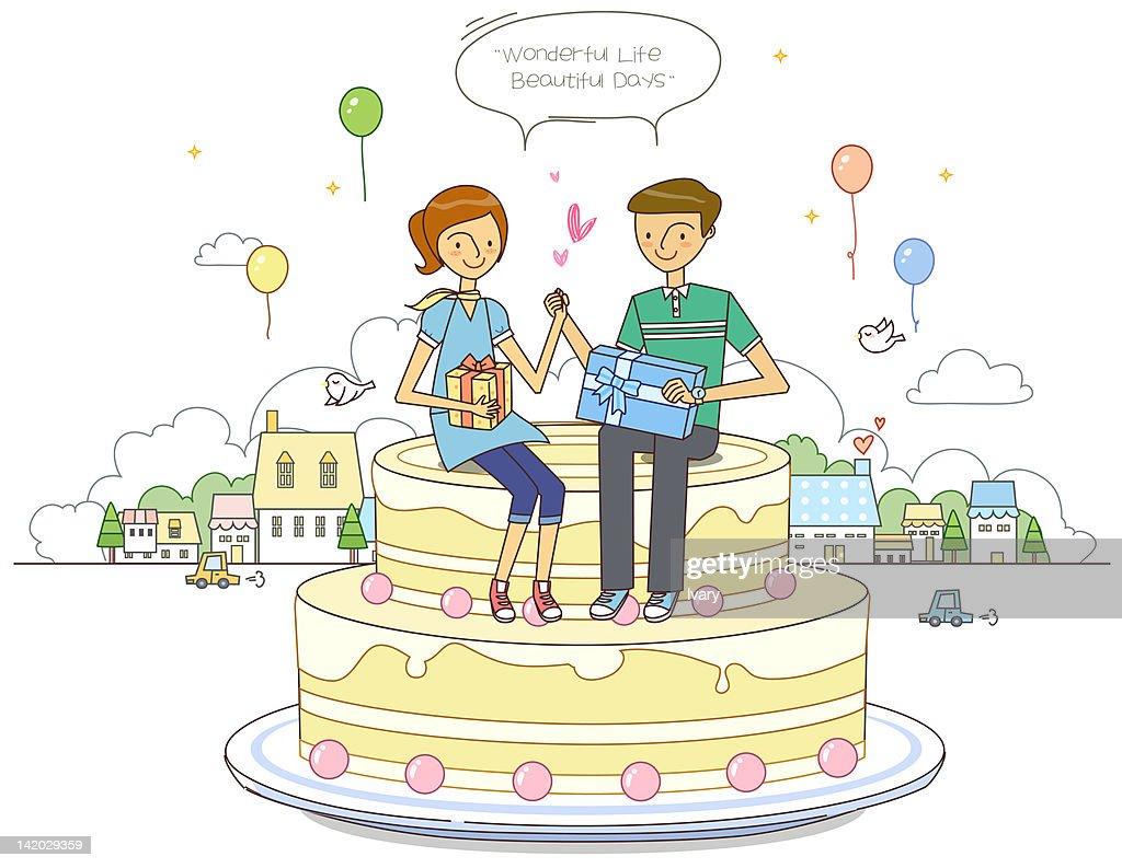 Man and woman sitting on cake : Stock Illustration