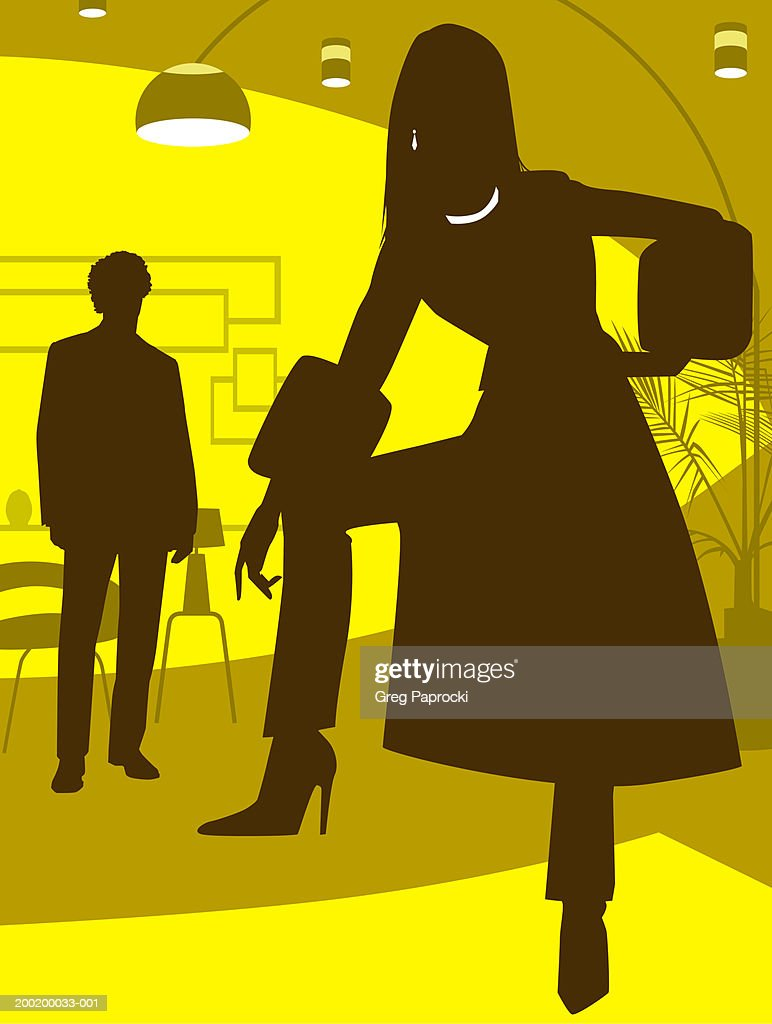 Man and woman standing in living room, silhouette : Stock Illustration