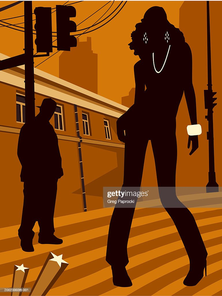 Man and woman standing on urban street, silhouette : Stock Illustration