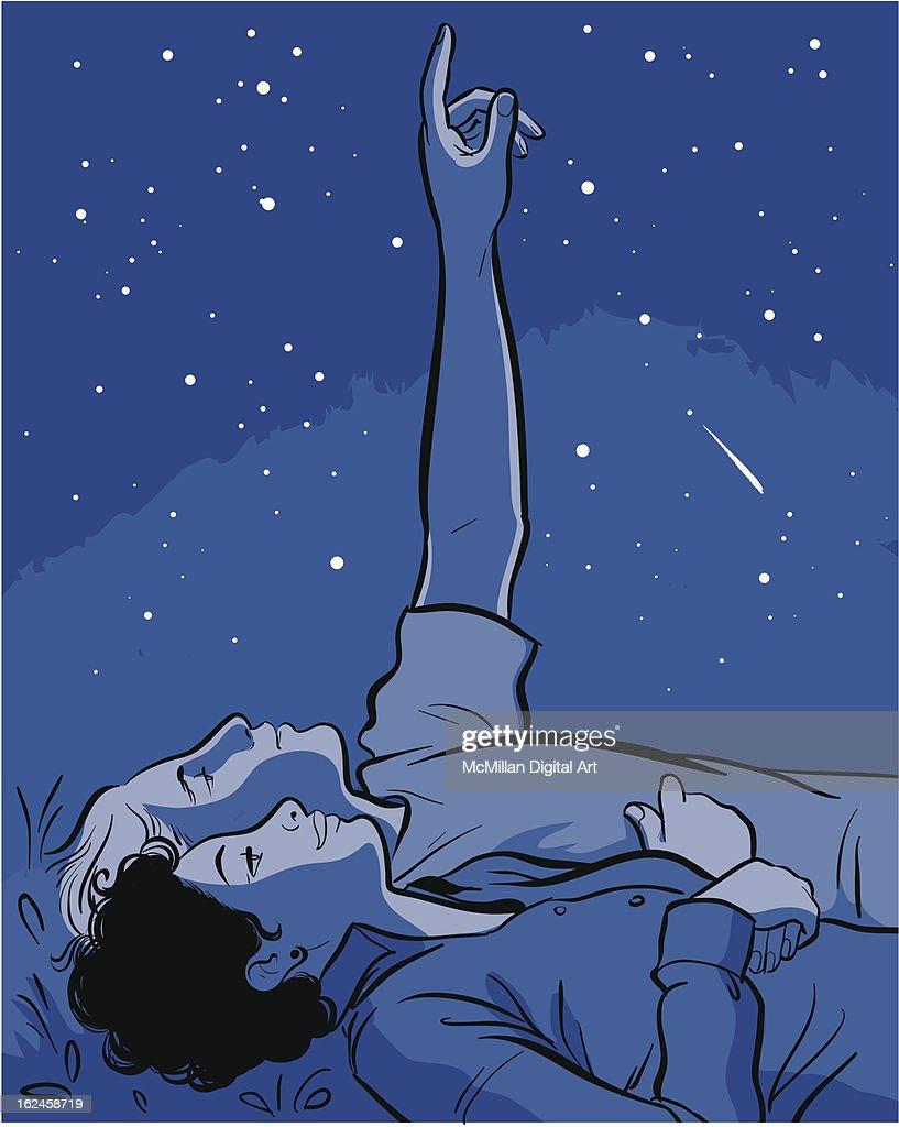 Man and woman stargazing : Vector Art
