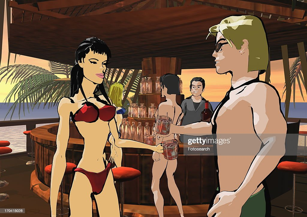 Man and woman toasting each other at a beach bar : Stock Illustration