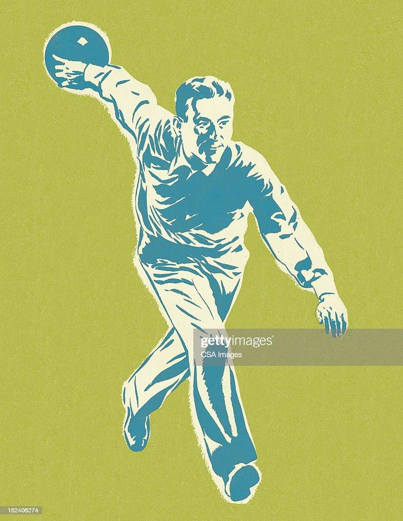 Man Bowling : Stock Illustration