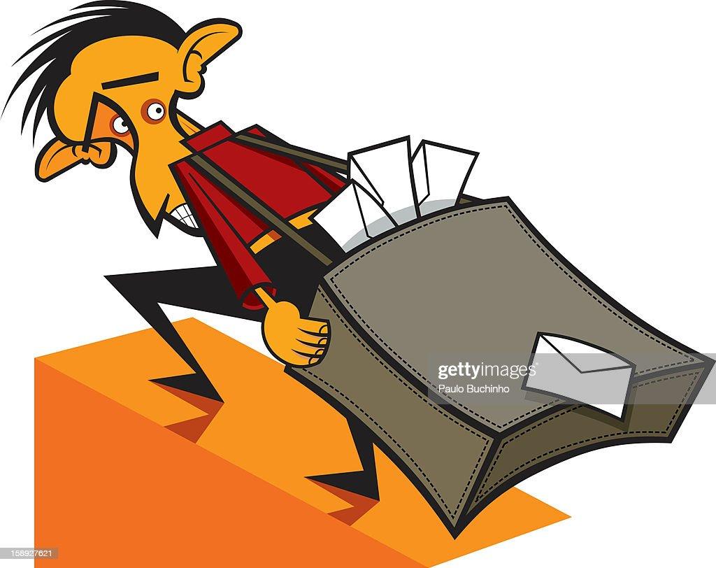 A man carrying a bag full of envelopes : Stock Illustration