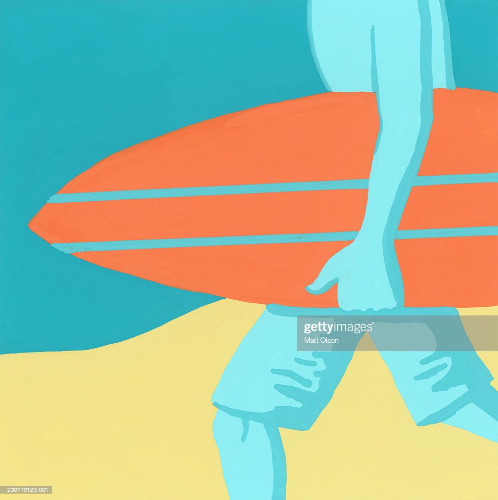 Man carrying surfboard, mid section, side view : Stock Illustration