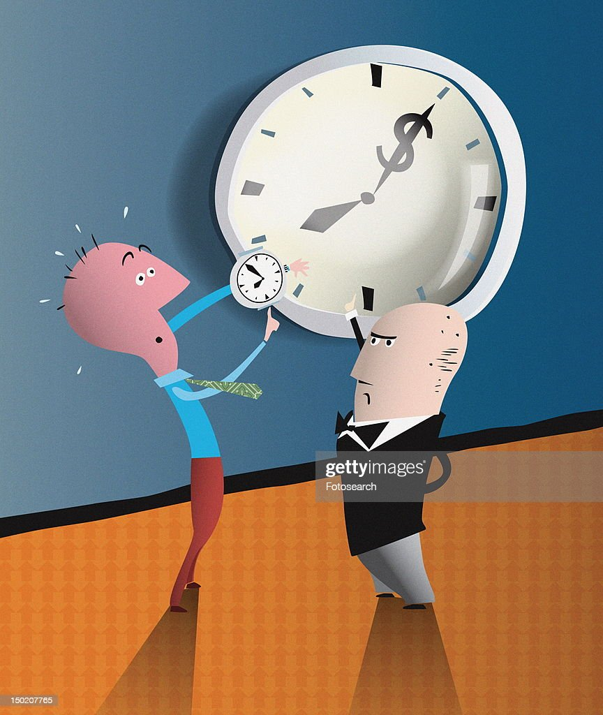 Man comparing his watch to clock in front of boss : Stock Illustration