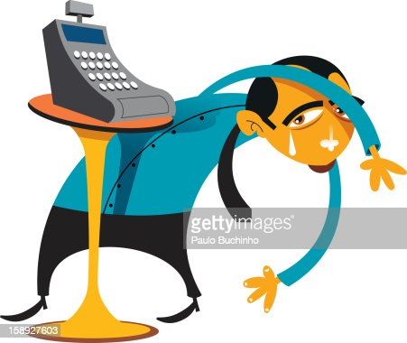 A man crying while looking behind a cash register : Stock Illustration