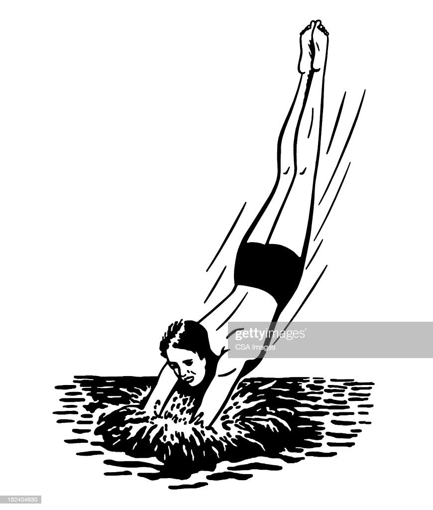 Man Diving into Water : Stock Illustration