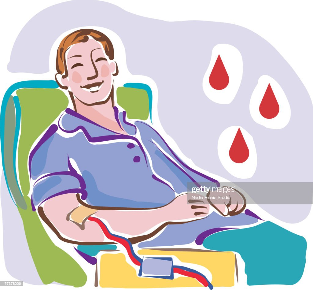 A man donating blood : Vector Art